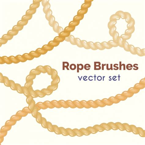 rope pattern brush and ready made rope elements rope brushes colelction vector free download