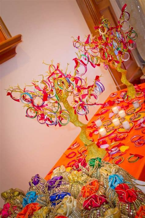 Interesting use of bangles for a Mehendi decor   Indian