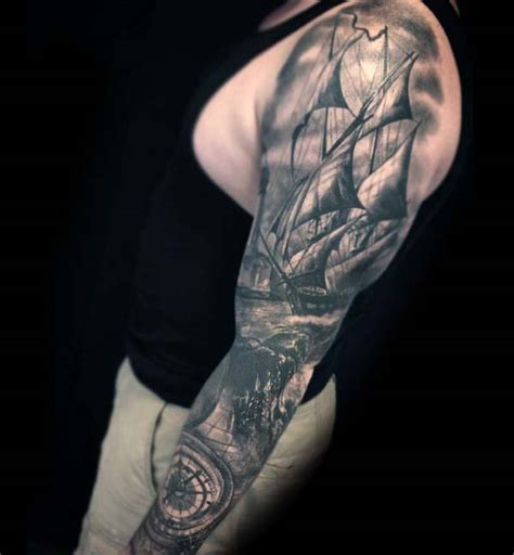 shaded tattoos designs 40 nautical sleeve tattoos for seafaring ink deisgn