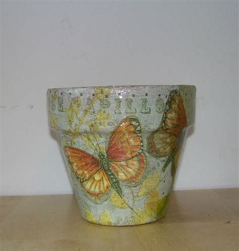 Decoupage Terracotta Plant Pots - handmade decoupage terra cotta clay flower pot butterfly 4
