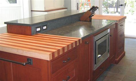 cherry and maple stripe wood kitchen countertop by