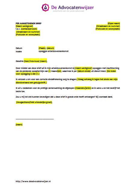 brief opstellen belgie voorbeeld opzegbrief arbeidsovereenkomst werknemer gratis de advocatenwijzer