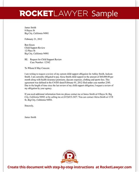Support Letter For Child Child Support Review Letter Request Review With Sle