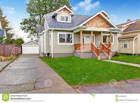 exterior view house exterior front porch and garage view stock photo