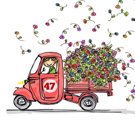 verjaardag 20 jaar bloemen grappige vespa ape met rode bloemen verjaardagskaarten