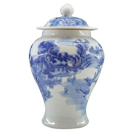 Blue And White Ginger Jars And Vases Chinese Landscape Design Blue And White Ceramic Vase