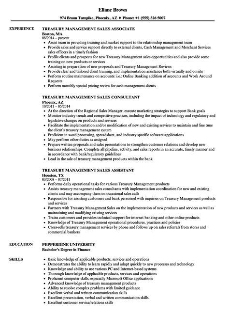 treasury management sales resume sles velvet