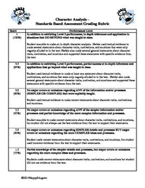 Character Letter Rubric Writing A Character Analysis Standards Based Rubric Texts Student And The O Jays