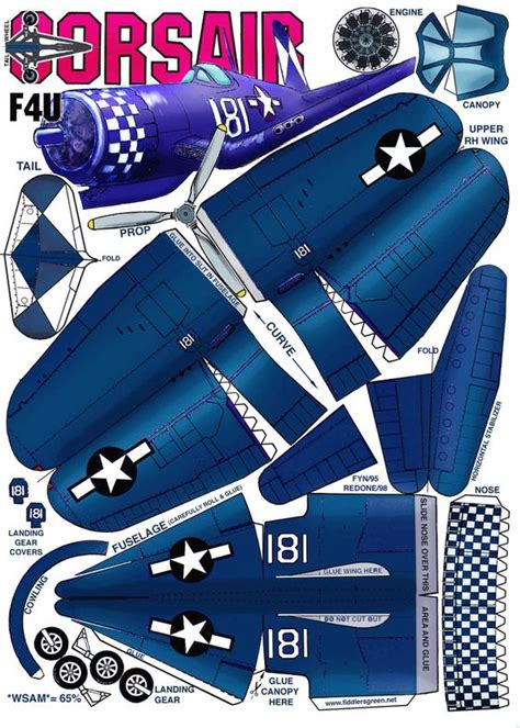 Paper Craft Aeroplane - chance vought f4u corsair 해보고싶은 planes