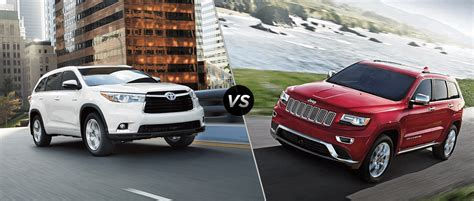 toyota jeep 2016 2016 toyota highlander vs 2016 jeep grand