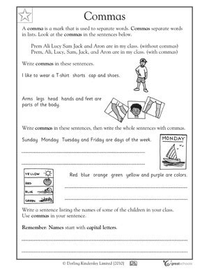 Commas Worksheet 5th Grade by 5 Great Writing Worksheets Grade 1 Airplane Messages
