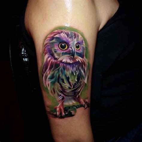 owl tattoo purple purple owl tattoo upper arm http tattootodesign com