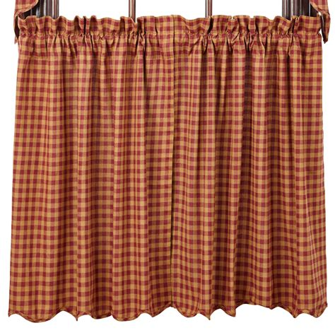 tiers curtains check scalloped lined curtain tiers burgundy navy 24 quot or