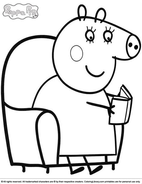 peppa pig coloring pages printable pdf mommy pig reading a book peppa pig coloring page az