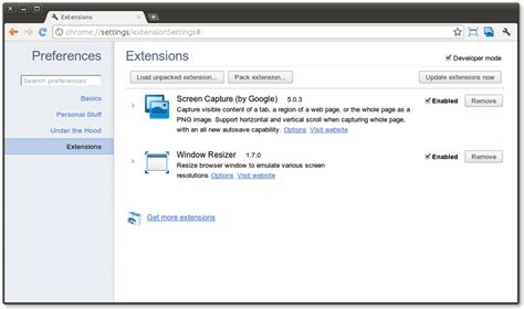 chrome extensions manager integrated into the