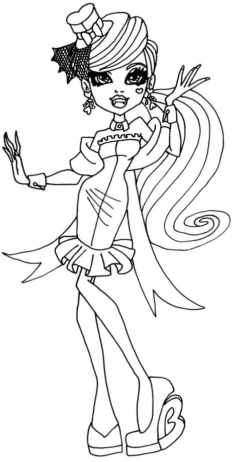 Draculaura Bw By Elfkena On Deviantart High Draculaura Coloring Pages