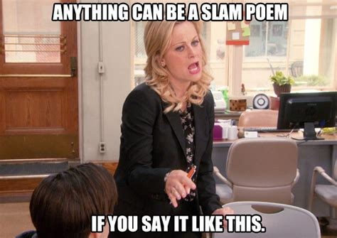 Parks And Rec Meme - slam poetry parks and rec parksandrec parks and