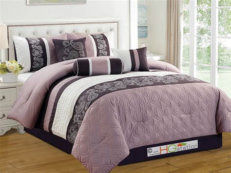 Lilac Comforter Sets by 7 Pc Marquise Floral Paisley Scroll Embroidery Comforter Set Purple Lilac King Ebay