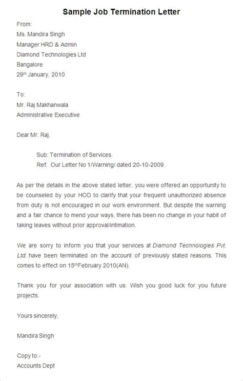 termination letter format for absence finest termination letter template for employee due to