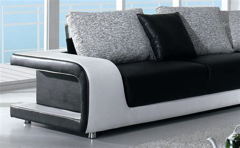 black leather sofa pillows divani casa black and white leather and fabric sectional sofa