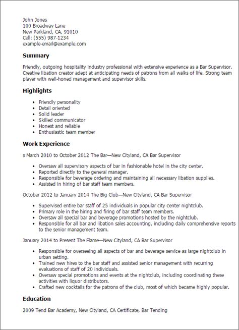resume supervisory skills