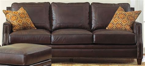 Caldwell Leather Sofa With 2 Accent Pillows From Steve Throw Pillows On Leather Sofa