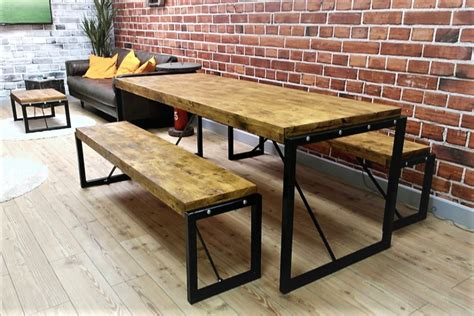bench style dining set rustic wood farmhouse and industrial dining tables