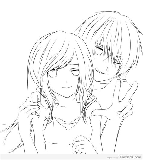 Cute Coloring Pages For Couples | cute anime couple coloring pages timykids