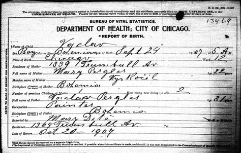 Birth Records Cook County Il Pergler Family History Vaclav Pergler 1876