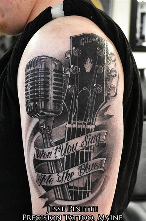 tattoo microphone and guitar guitar and microphone tattoo music tattoos pinterest