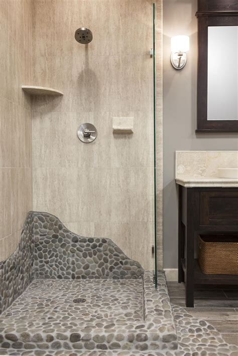 pebble tiles for bathroom this shower brings elements of nature with a shower pan