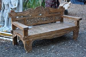 carved benches carved teak bench from bali eclectic indoor