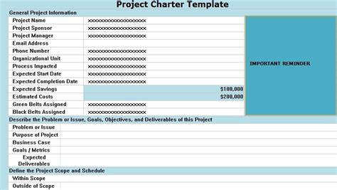 project charter pmp template project charter template excel projecttactics project