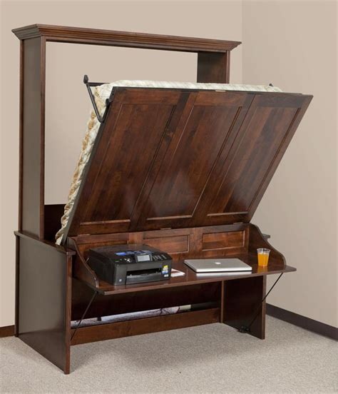 vertical bed murphy wall bed and desk amish murphy desk bed from dutchcrafters