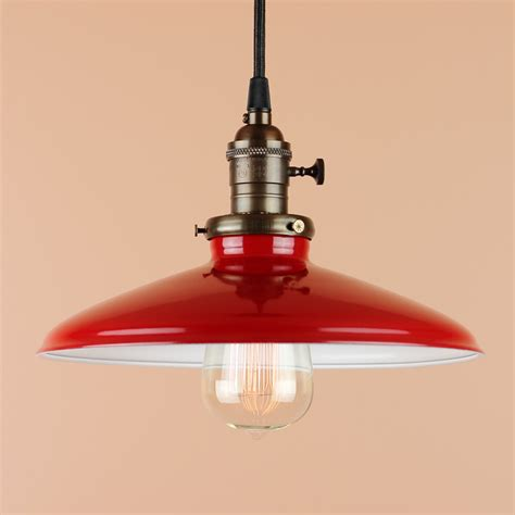 Barn Pendant Lighting Metal Barn Light Pendant 10 Inch Pendant Light Cherry Porcelain Enamel Finish