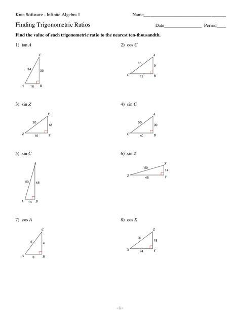 Infinite Math Worksheets by Kuta Software Infinite Geometry Trigonometric Ratios
