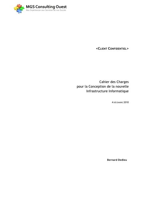 Cahier des Charges Infrastructure Informatique