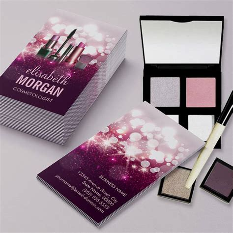 makeup artist business cards templates free makeup artist cosmetician pink glitter pack of