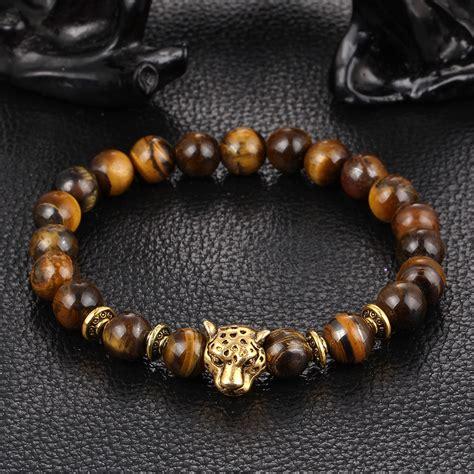 mens gold bead bracelet xinyao dropship gold leopard gold tiger eye bead