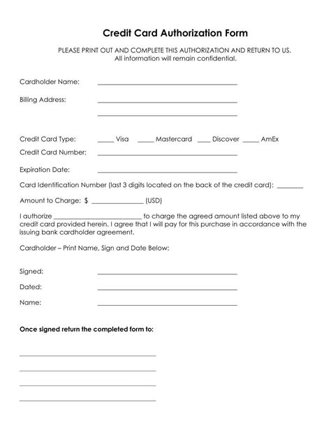 Microsoft Credit Card Authorization Form Template
