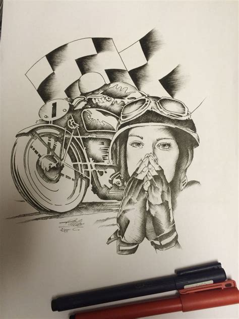 twisted tattoo designs cafe racer pen sketch by travis allen at twisted