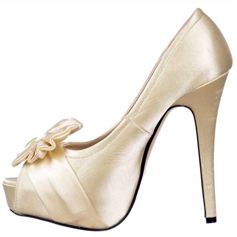 shoekandi bridal peep toe wedding shoes satin bow