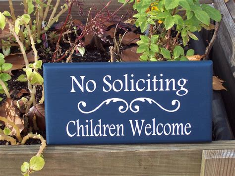 no soliciting welcome mat whimsical blue and white no soliciting children welcome