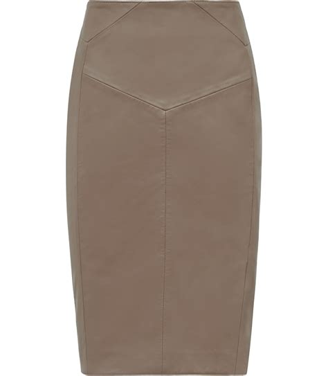 reiss ruby leather pencil skirt in beige taupe lyst