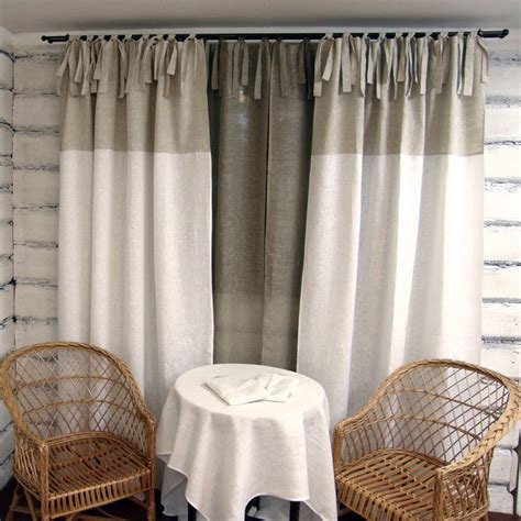 linnen curtains linen curtain panel white tie top 100 linen custom length eco