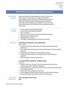 Maintenance Resume Template Maintenance Technician Resume Samples Templates And Tips