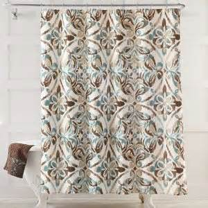 Green And Brown Shower Curtains Seafoam Green Brown Medallion Fabric Shower Curtain