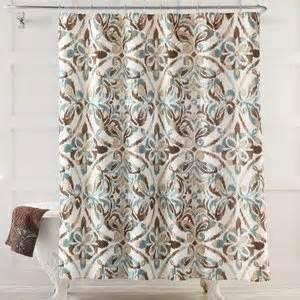 Amazon com seafoam green brown tan medallion fabric shower curtain