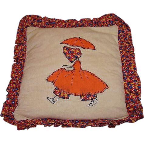 Handmade Applique - w parasol quilt pattern pillow handmade applique