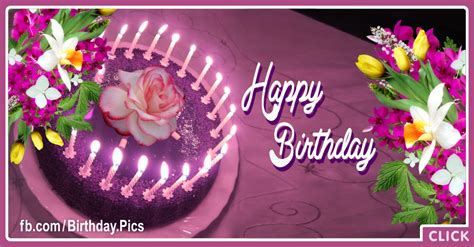 Happy Birthday Card Flowers And Cake